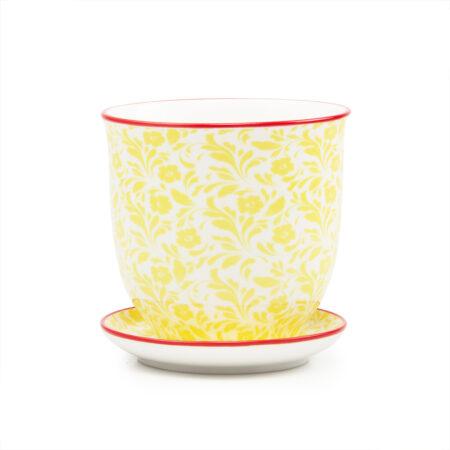 yellow flower houseplant pot